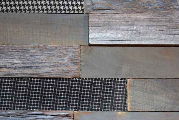 Wandpaneele - Material Mix Holz reycelt, Stoff