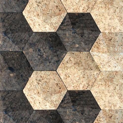 wandpaneele-kork-hexagon-attack-nautur-braun